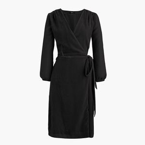 New JCREW Black Wrap dress in Drapey Velvet